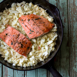 """Thyme-Rubbed Salmon with Cauliflower """"Risotto"""""""