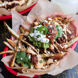 Tijuana Street Fries (Honey Glazed Chipotle Carnitas, Fries + Toppings).