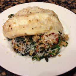 Tilapia with Chard Pesto Quinoa