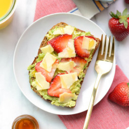 Strawberry, Avocado, and White Cheddar Toast