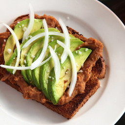 Toast With Refried Beans & Avocado (Vegan)
