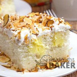 Toasted Almond Coconut Cream Poke Cake