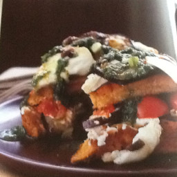 Toasted Aubergine & Anchovy Focaccia With Goat's Cheese
