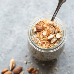 Toasted Coconut-Almond Crunch Chia Pudding with Maca