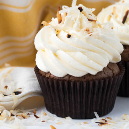 Toasted Coconut Brownie Cupcakes with Marshmallow Buttercream Frosting