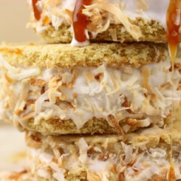 Toasted Coconut Caramel Ice Cream Sandwiches
