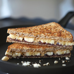 Toasted Peanut Butter, Banana & Blackberry Jam Sandwich with Macadamia Nuts