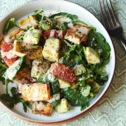 Tofu and Kale Salad With Avocado, Grapefruit, and Miso-Tahini Dressing Reci