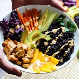 Tofu and Mango Forbidden Rice Bowls