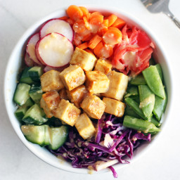 Tofu Veggie Bowls with Miso Dressing