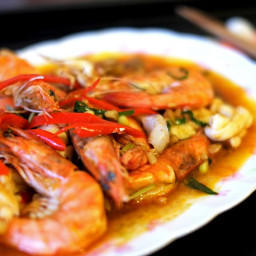Tom Yum Squid and Prawns Stirfry