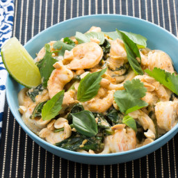 Tom Yum-Style Shrimp and Noodleswith Gai Lan and Thai Basil