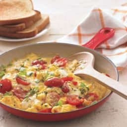 Tomato and Basil Scramble with Fresh Mozzarella