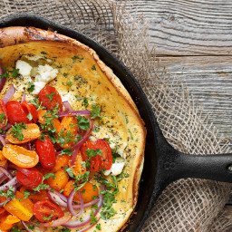 Tomato and Goat Cheese Dutch Baby