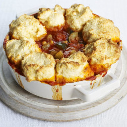 Tomato and harissa stew with cheddar dumplings