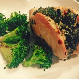 Tomato and Mozzarella Stuffed Chicken Breasts with Garlicky Broccoli