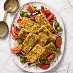 Tomato and Onion Salad with Crispy Tofu