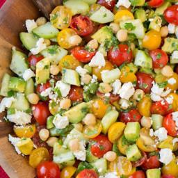 Tomato Avocado Cucumber Chick Pea Salad with Feta and Greek Lemon Dressing