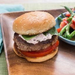 Tomato-Basil Burgers with Olive Aioli & Green Bean-Tomato Salad