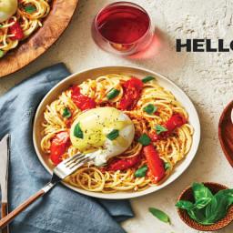 Tomato & Burrata Spaghetti Pugliesi topped with Basil & Crispy Breadcrumbs