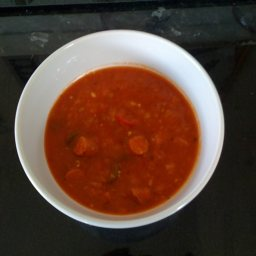 Tomato, Chilli and Debrecziner Sausage soup