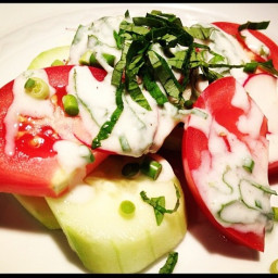 Tomato Cucumber Salad with Creamy Herb Dressing