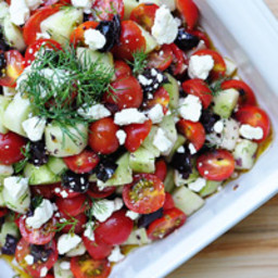 Tomato Cucumber Salad with Olives and Feta