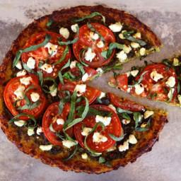 Tomato Pesto Tart with Cauliflower Crust