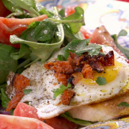 Tomato, Red Onion and Rocket Salad with Fried Egg, Grilled Chorizo and Gril