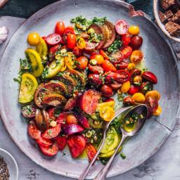 Tomato Salad with Tarragon Pesto and Pumpernickel Croutons