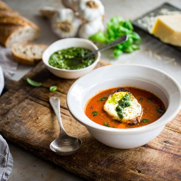 Tomato Soup with Pesto and Mozzarella Toast Recipe