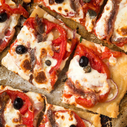 Tomato Tart With Fresh Mozzarella and Anchovies