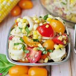 Tortellini Pasta Salad with Tomatoes, Basil, & Fresh Corn
