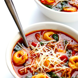 Tortellini Soup with Italian Sausage, Spinach and Tomatoes