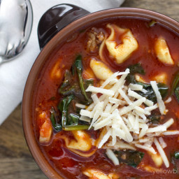 Tortellini Tomato Soup with Italian Sausage & Spinach