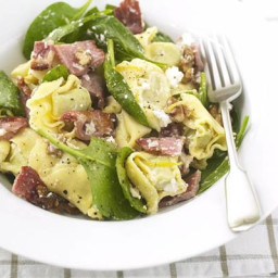 Tortellini with ricotta, spinach and bacon