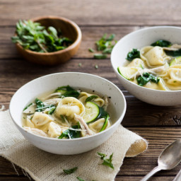 Tortelloni Soup with Roasted Chicken, Zucchini and Spinach