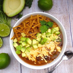 Tortilla Soup with Jalapeño Cashew-Queso