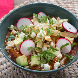 Tortilla Soupwith Hominy and Queso Fresco