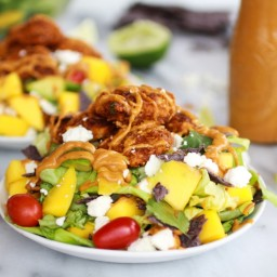 Tortilla Chip Crusted Chicken Salad with Avocado Chipotle Lime Dressing and