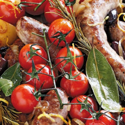 Tray-baked sausages with potatoes & cherry tomatoes