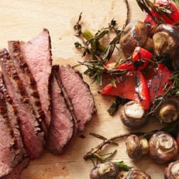 Tri-Tip Steak With Mushrooms and Peppers