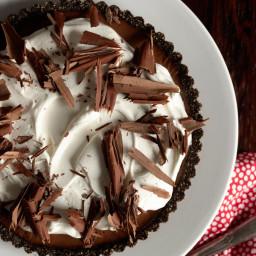 Triple Chocolate Tart with Boozy Whipped Cream