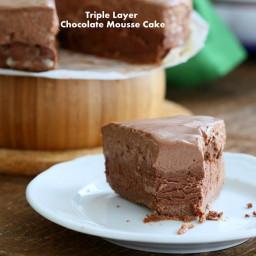 Triple Layer Chocolate Mousse Cake Vegan Gluten free Recipe. No Bake, No Pa