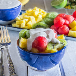 Tropical Fruit Salad with Coconut Cream (Vegan)