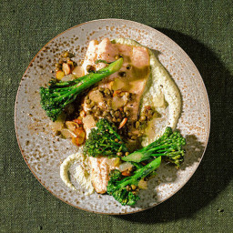 Trout Amandine With Almond and Broccolini Purée