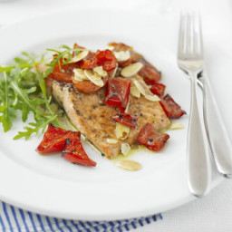 Trout with almonds and red peppers