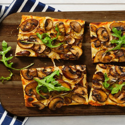 Truffled Mushroom Flatbreads with Shallot and a Green Side Salad