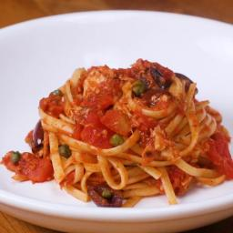 Tuna Linguine With Tomatoes, Olives & Capers Recipe by Tasty