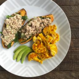Tuna Salad Sweet Potato Toasts With Roasted Cauliflower